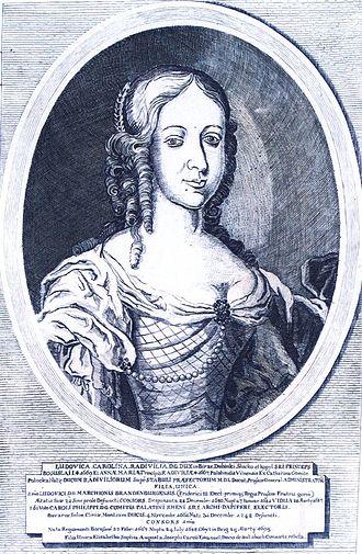 Charles III Philip, Elector Palatine - Ludovica Carolina Radivilia, the illustration from Icones familiae ducalis Radvilianae.