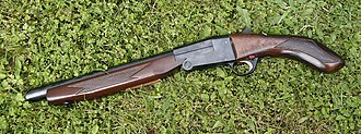 Sawed-off shotgun - A sawed-off break-open shotgun of the type commonly known as a lupara