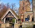 Lychgate and west tower of St Mary's parish church, Kingswinford, West Midlands (seen from the south).jpg