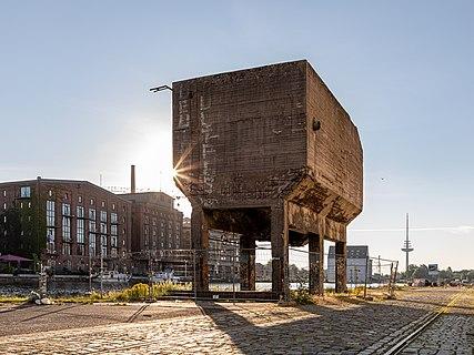 "Former bulk bin (""Elephant"") in the port, Münster, North Rhine-Westphalia, Germany"