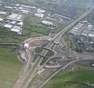 M1 motorway (Republic of Ireland) - The M1 from the air, at its junction with the M50 near Dublin, Ireland