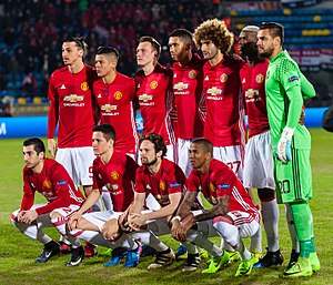 2016–17 Manchester United F.C. season - Manchester United players before the game against Rostov