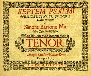 Simon Bar Jona Madelka - The cover of the Seven Penitential Psalms for Five Voices by Simon Bar Jona Madelka