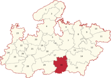 Madhya Pradesh Lok Sabha constituencies (Chhindwara highlighted).png