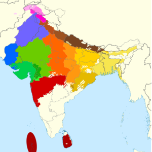 South Asian ethnic groups - The extent of Indo-Aryan languages in the Indian subcontinent