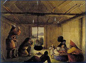 Houlton Band of Maliseet Indians - Image: Maliseet Indian Wooden Hut Interior