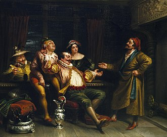George Henry Hall (artist) - Image: Malvolio confronting the revelers (Hall, 1855)