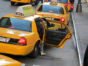 Getting out of a Taxi, Manhattan, New York City