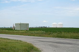Newcomb Township, Champaign County, Illinois - Peoples Gas Manlove Field Natural gas storage area. In the foreground is one onf the numerous wells in the area with the LNG plant and tanks in the background.