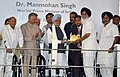 Manmohan Singh being presented a model of Golden Temple by the Chief Minister of Punjab, Shri Prakash Singh Badal, at the dedication ceremony of the Guru Gobind Singh Refinery to the Nation, in Bathinda.jpg
