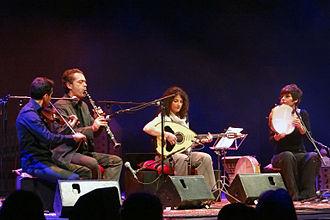 Laouto - Maria Ploumi playing a laouto as part of an ensemble.