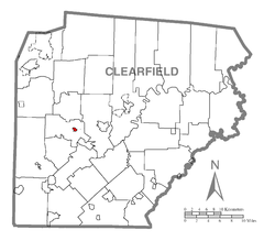 Map showing Grampian in Clearfield County