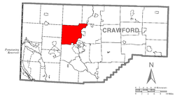 Location of Hayfield Township in Crawford County