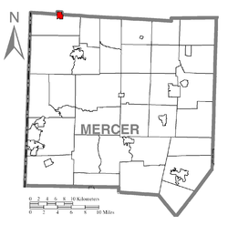 Location of Jamestown in Mercer County