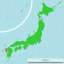 Map of Japan with Nagasaki highlighted