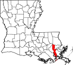 State map highlighting Jefferson Parish