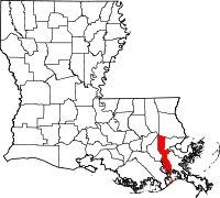 Map of Louisiana highlighting Jefferson Parish