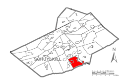 Map of Schuylkill County, Pennsylvania Highlighting South Manheim Township