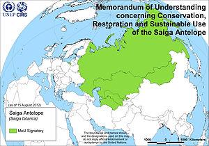 Saiga Antelope Memorandum of Understanding - Map of Signatories to the Saiga Antelope MoU, as of 15 August 2012