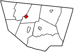 Map of Sullivan County, Pennsylvania, highlighting Forksville