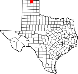 map of Texas highlighting Hansford County