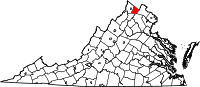 Map of Virginia highlighting Clarke County