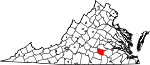 State map highlighting Nottoway County