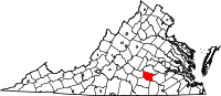 Map of Virginia highlighting Nottoway County