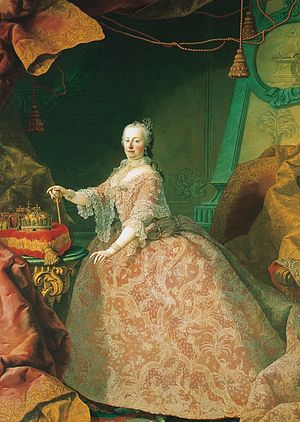 Grand title of the Emperor of Austria - Empress Maria Theresa, on her right are the crowns of the Holy Roman Empire, Hungary and Bohemia (by Martin van Meytens, 1752/1753)