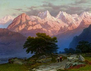 Alpine landscape with staffage