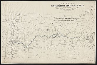Central Massachusetts Railroad - A map of the Massachusetts Central Railroad's route.