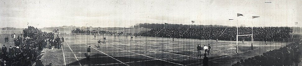 Canton Bulldogs vs. Massillon Tigers playing on grid field on November 24, 1906, during the betting scandal.