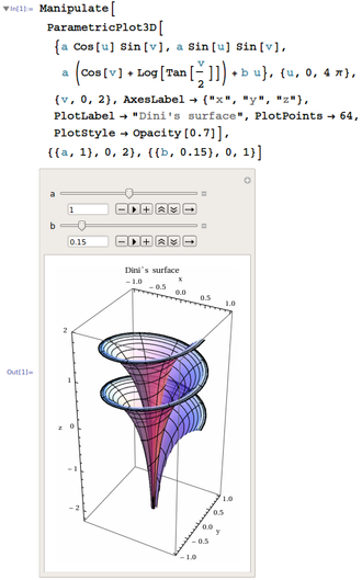 Dini's surface - Dini's surface plotted with adjustable parameters by Wolfram Mathematica program