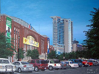 Victory Park, Dallas - Maverick Excitement (2006) by R. Vojir featuring the American Airlines Center and W Dallas Victory Hotel and Residences