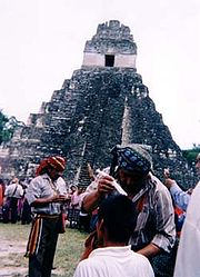 Mayan priest performing healing