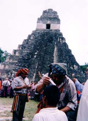 Maya religion - Contemporary Maya priest in a healing ritual at Tikal