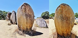 Almendres Cromlech - Image: Megalithic spirals at Almendres Cromlech