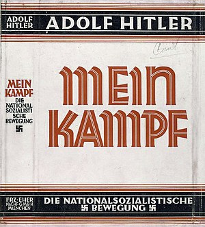 Dust jacket of the book Mein Kampf, written by...