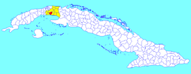 Melena del Sur municipality (red) within  Mayabeque Province (yellow) and Cuba
