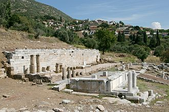 Ithome - The klepsydra, or spring catchment, in Mavromati. Messene was downslope. Ithome looms in the background.