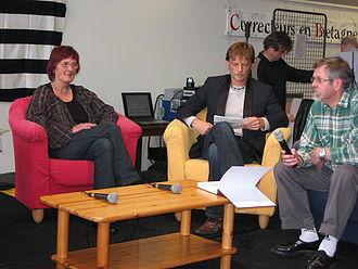 Breton literature - Breton novelists Mich Beyer and Yann-Fulup Dupuy, with translator Hervé Latimier, 2008