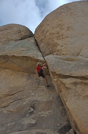 Free solo climbing - Michael Reardon free soloing Lower Right Ski Track (5.10b) on Intersection Rock in Joshua Tree National Park, 2007.