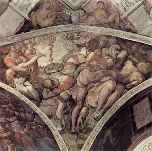 Nehushtan - In 1508 Michelangelo's image of the Israelites deliverance from the plague of serpents by the creation of the bronze serpent on the ceiling of the Sistine Chapel.