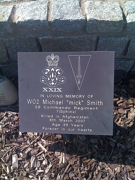 Memorial to member of the regiment killed in Afghanistan