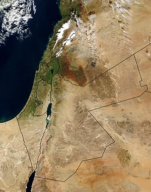 A 2003 satellite image of the region, with the...