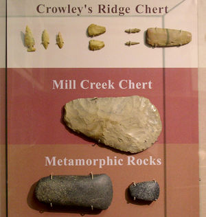 A large biface hoe made from Mill Creek chert ...