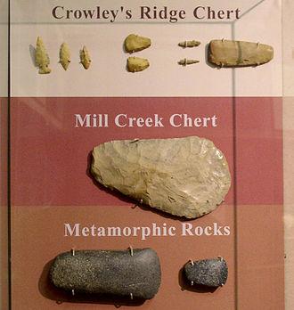 Mill Creek chert - Image: Mill Creek chert hoe and other artifacts Parkin H Roe 01
