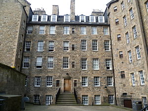 Patrick Geddes - Milne's Court (1690), Edinburgh. Under the influence of the pioneering conservationist, Patrick Geddes, these buildings were renovated in 1914, becoming a university hall of residence.