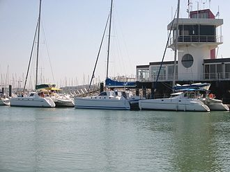 Les Minimes - Catamarans docked at Les Minimes marina.