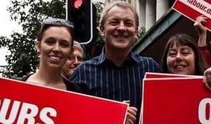 New Zealand Labour Party - Then-leader Phil Goff with current leader Jacinda Ardern and Carol Beaumont at an anti-mining march in Auckland, 2010